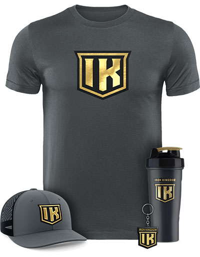 IRON KINGDOM GOLD T-SHIRT + HAT + SHAKER