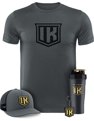 IRON KINGDOM GREY T-SHIRT + HAT + SHAKER