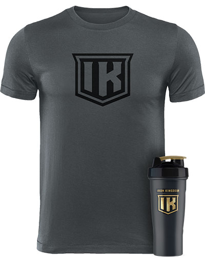 IRON KINGDOM GREY T-SHIRT + SHAKER